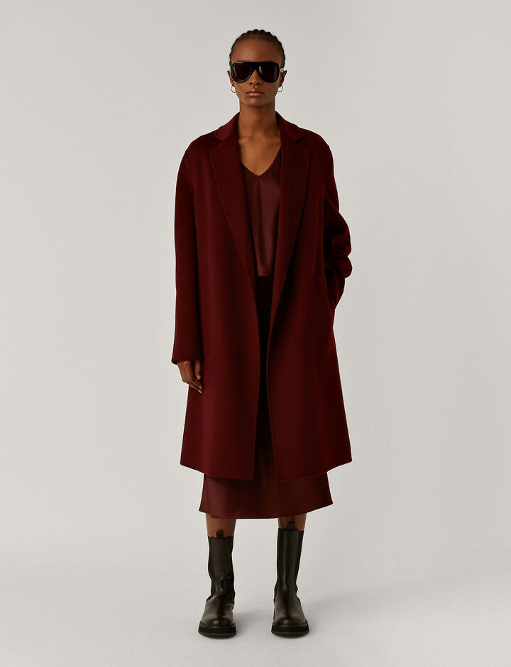 Joseph, Cenda Long-Dbl Face Cashmere, in BURGUNDY