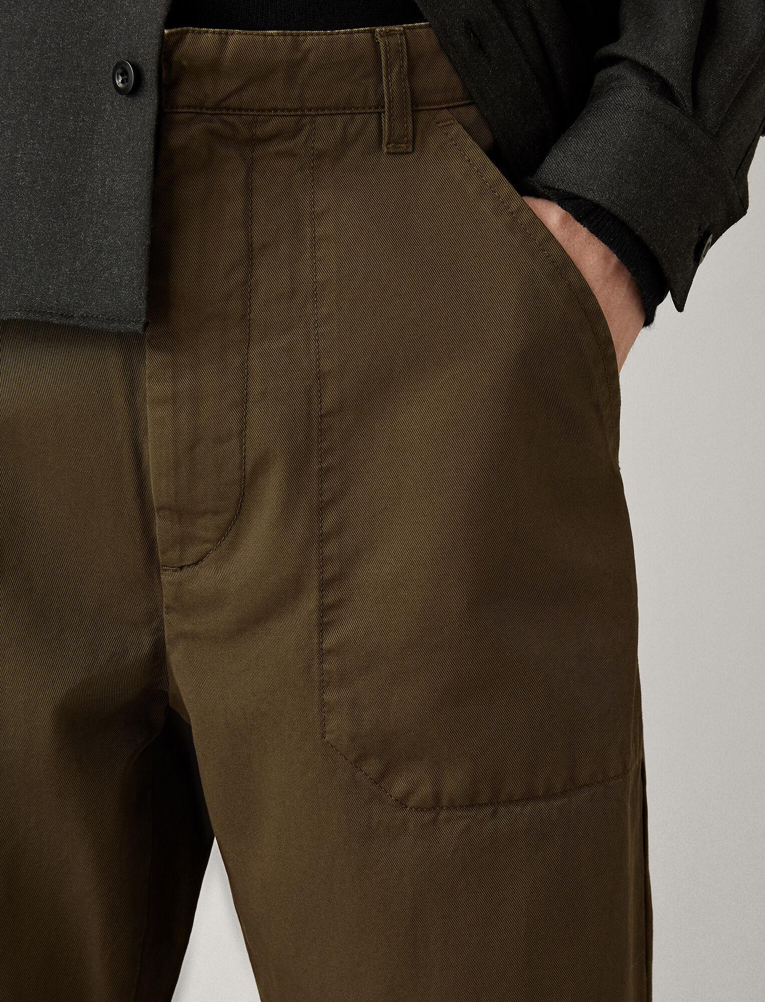 Joseph, Bridge Twill Cotton Dye Trousers, in MUD