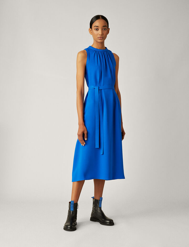 Joseph, Grace Silk Crepe Dress, in PLASTIC BLUE