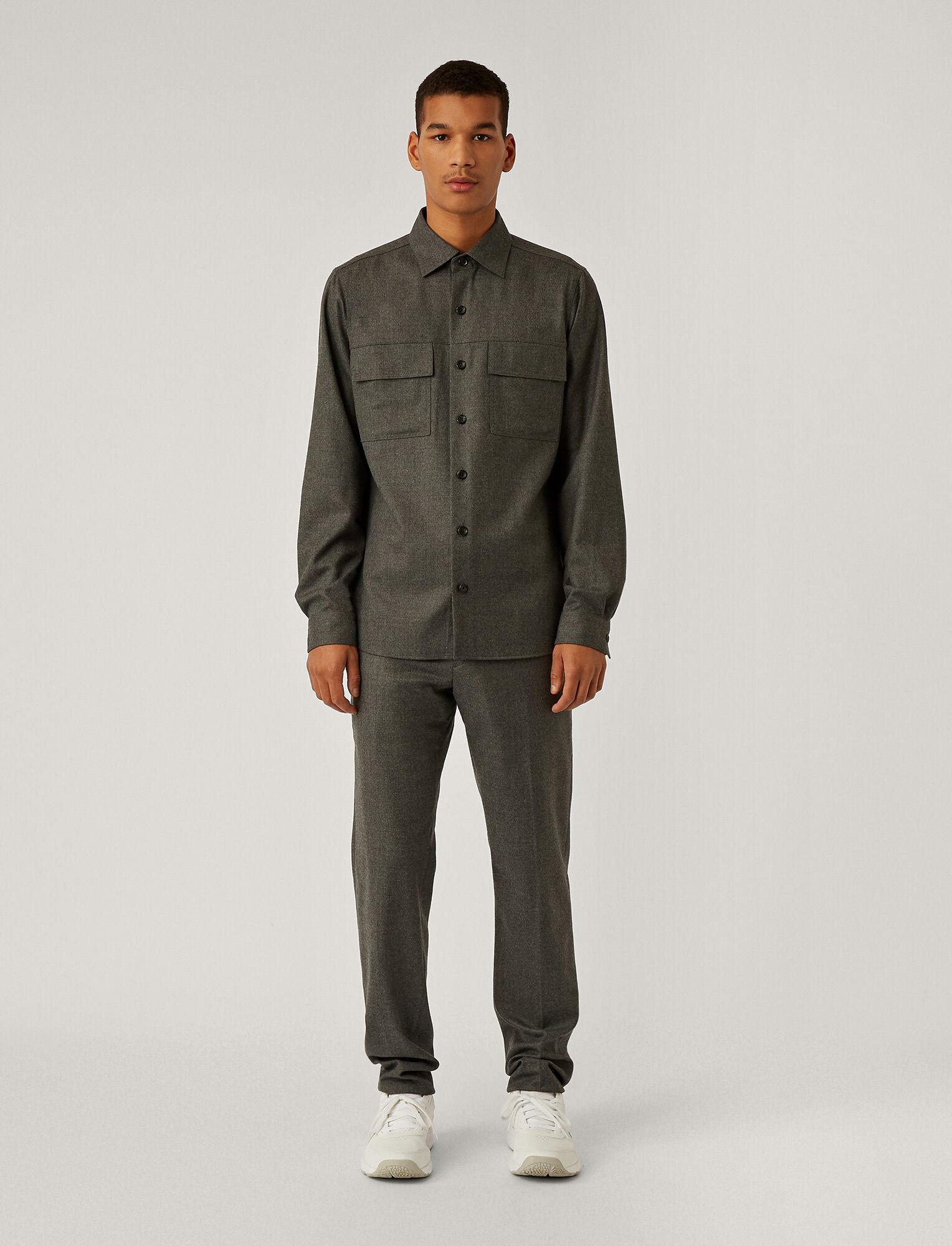 Joseph, Flannel Stretch Shirt, in LIGHT GREY