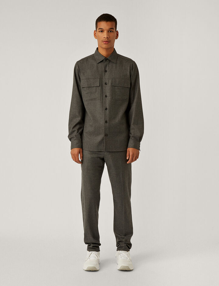 Joseph, Flannel Stretch Shirt, in LIGHT GREY