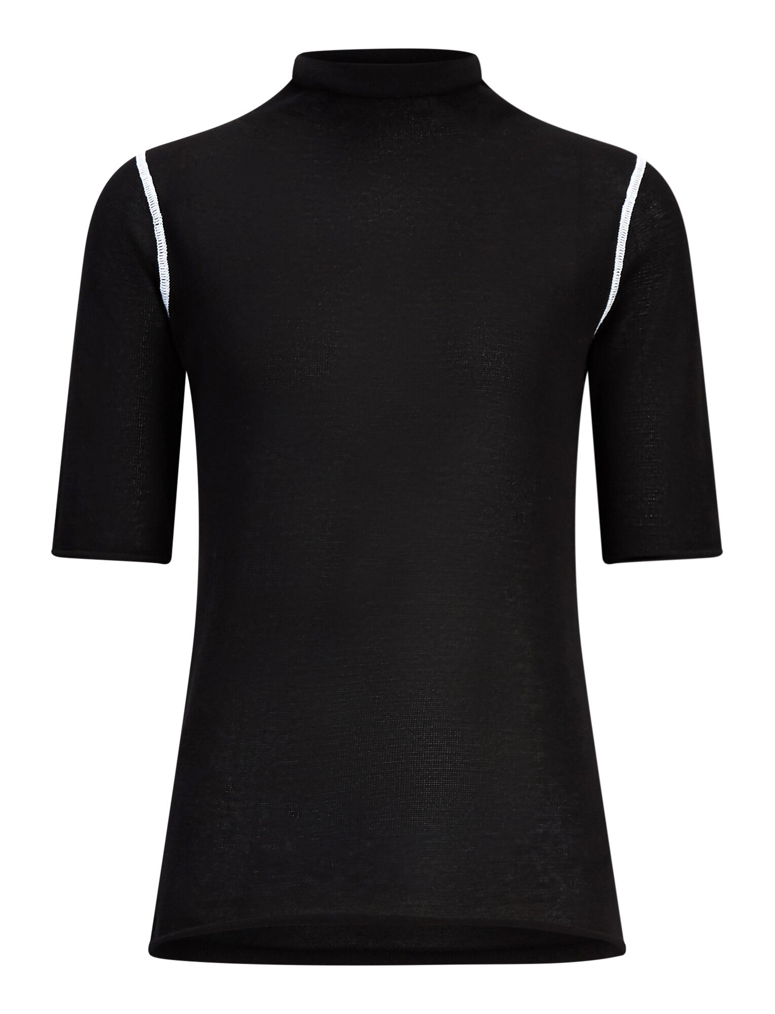 Joseph, High Neck Light Cotton Knit Tee, in BLACK