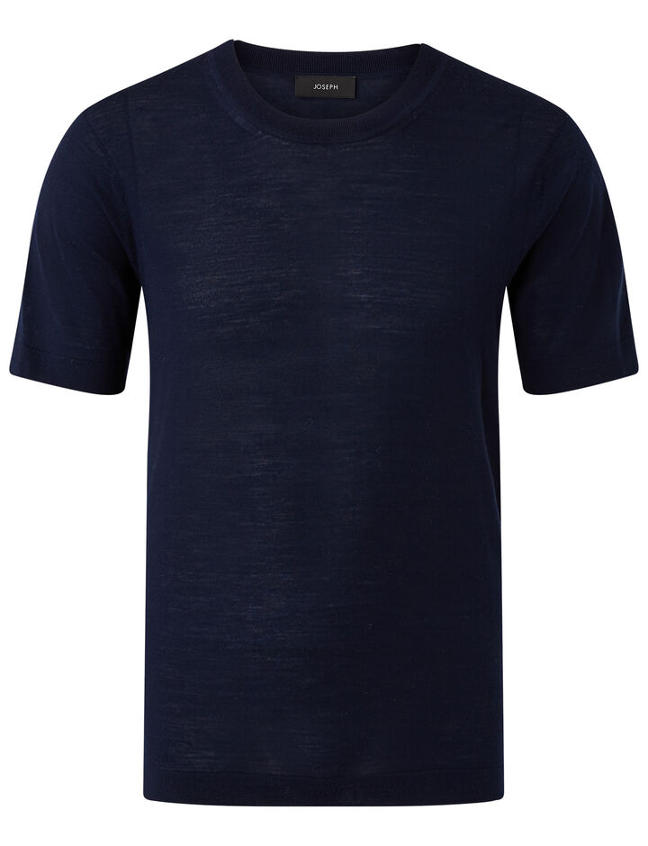 Joseph, Ss Crew Nk-Light Merinos, in NAVY