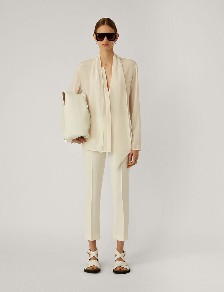 Joseph, Branca-Crepe De Soie, in OFF WHITE