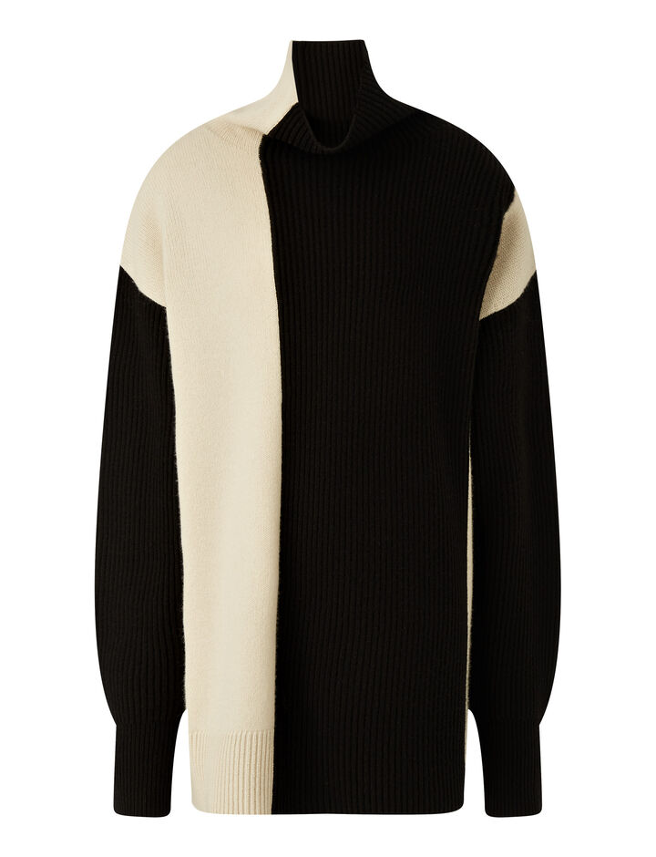 Joseph, High Nk Ls-Soft Wool, in IVORY COMBO