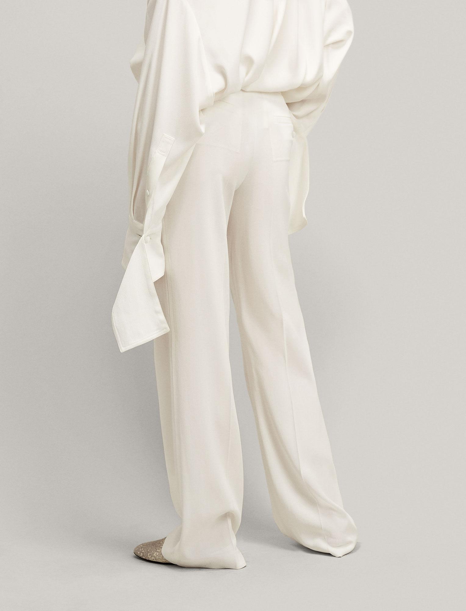 Joseph, New Ferdy Crepe Satin Trousers, in WHITE