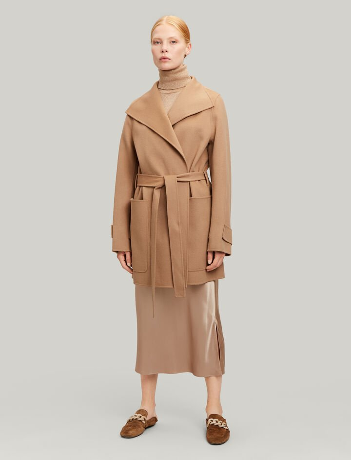 Joseph, Lista Short Double Wool Gloss Coat, in CAMEL