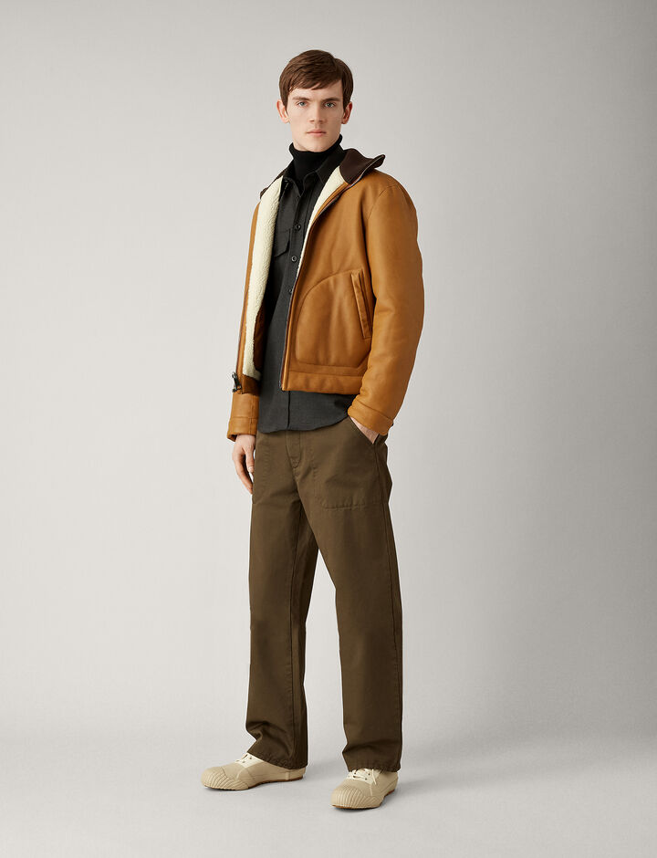 Joseph, Bridge Twill Cotton Dye Trousers, in MUD