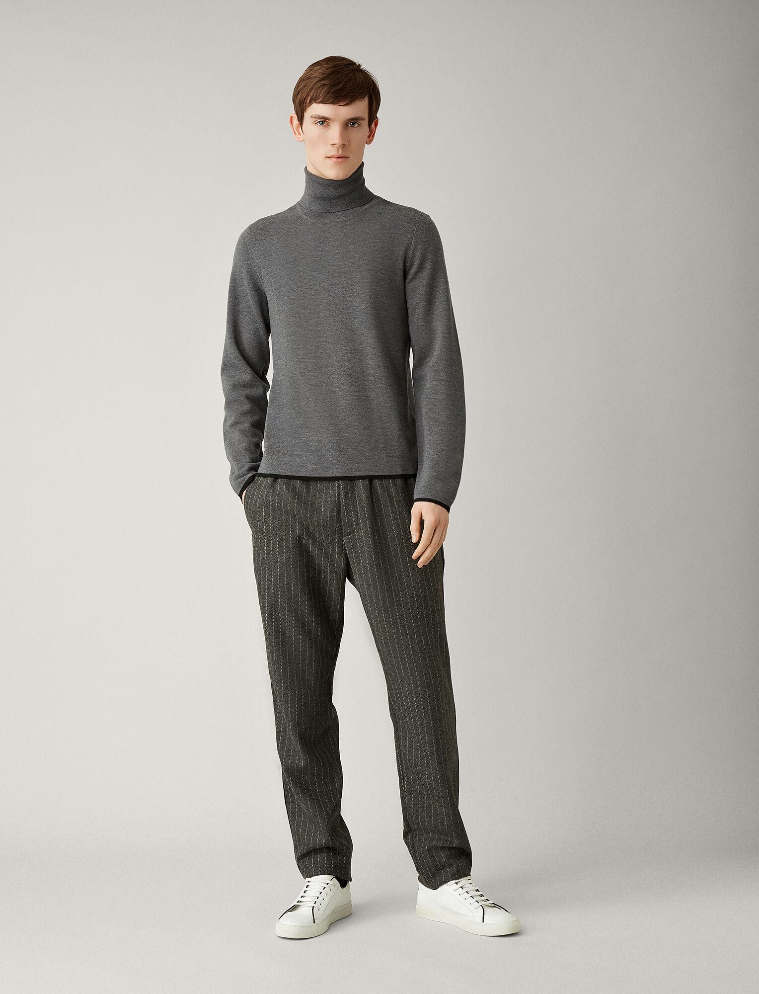 Joseph, Roll Neck Fine Milano Knit, in CHARCOAL