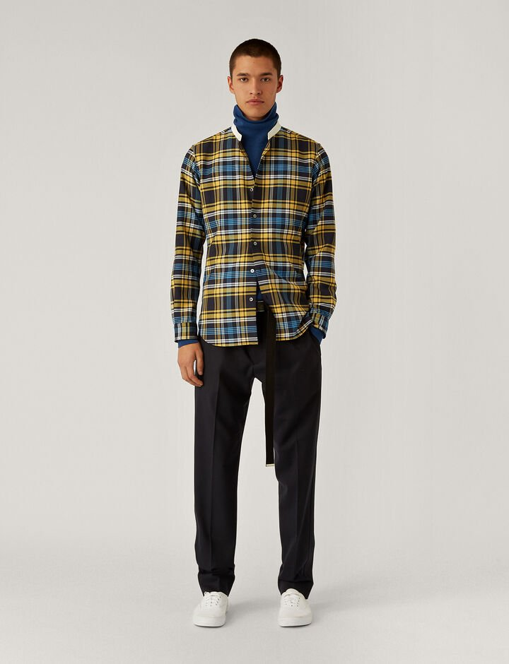 Joseph, Techno Wool Check Shirt Shirts, in Navy