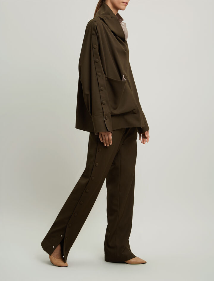 Joseph, Beech Fluid Wool Blouse, in FATIGUE