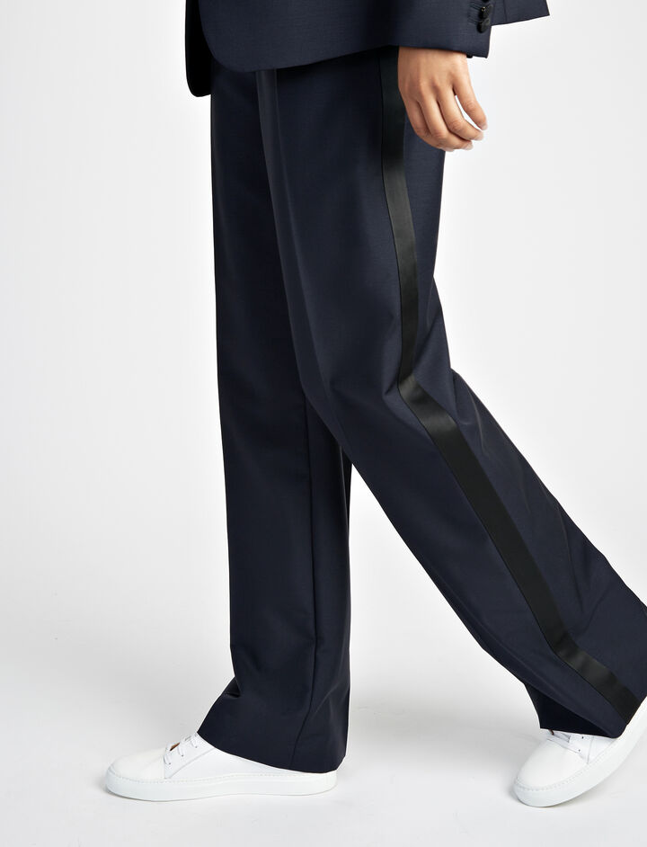 Joseph, Wool Mohair Ferdy Tuxedo Trousers, in NAVY