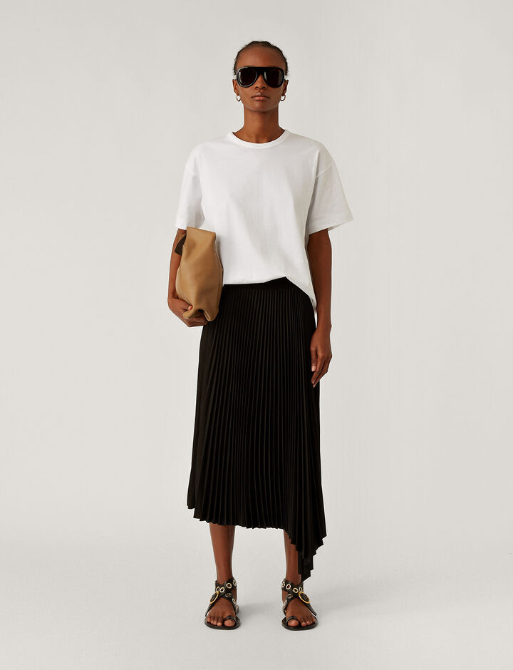Joseph, Sabin Knit Weave Plissé Skirts, in Black