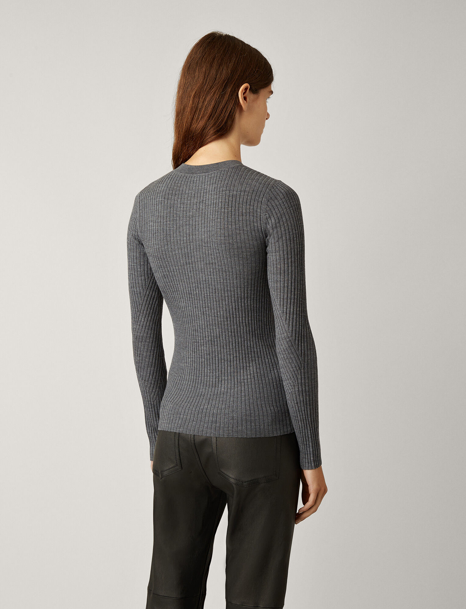 Joseph, Light Merinos Rib Knit, in CHARCOAL
