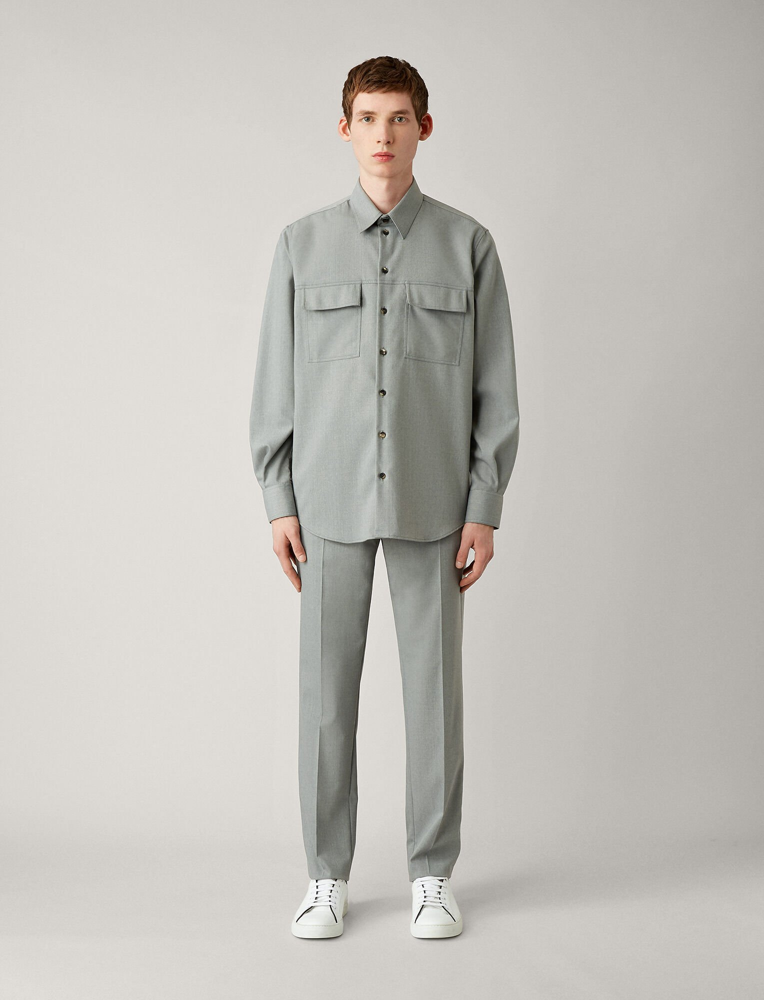 Joseph, Norman Fine Comfort Wool Shirt, in GREY CHINE