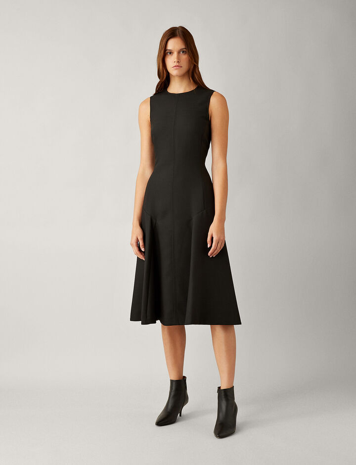 Joseph, Jackson Wool Pleat Dress, in BLACK