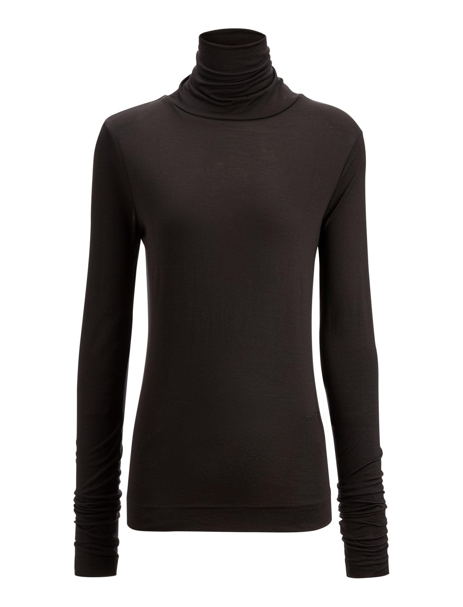 Joseph, Roll Neck Silk Jersey Top, in BLACK