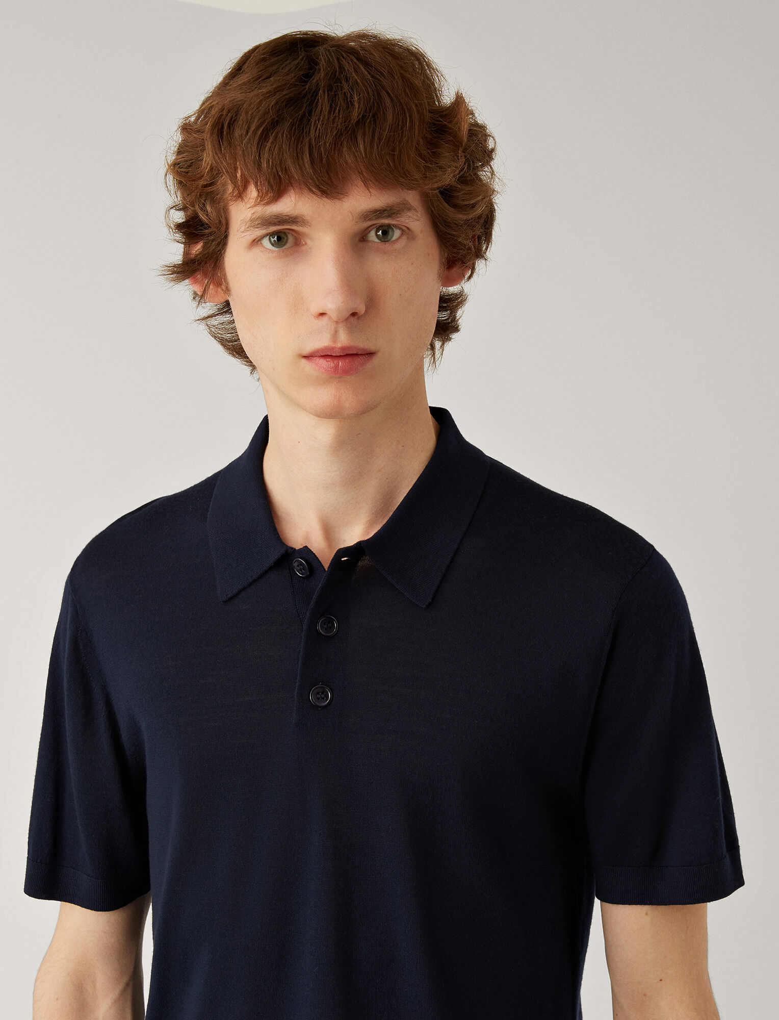 Joseph, Polo Light Merinos Knit, in NAVY
