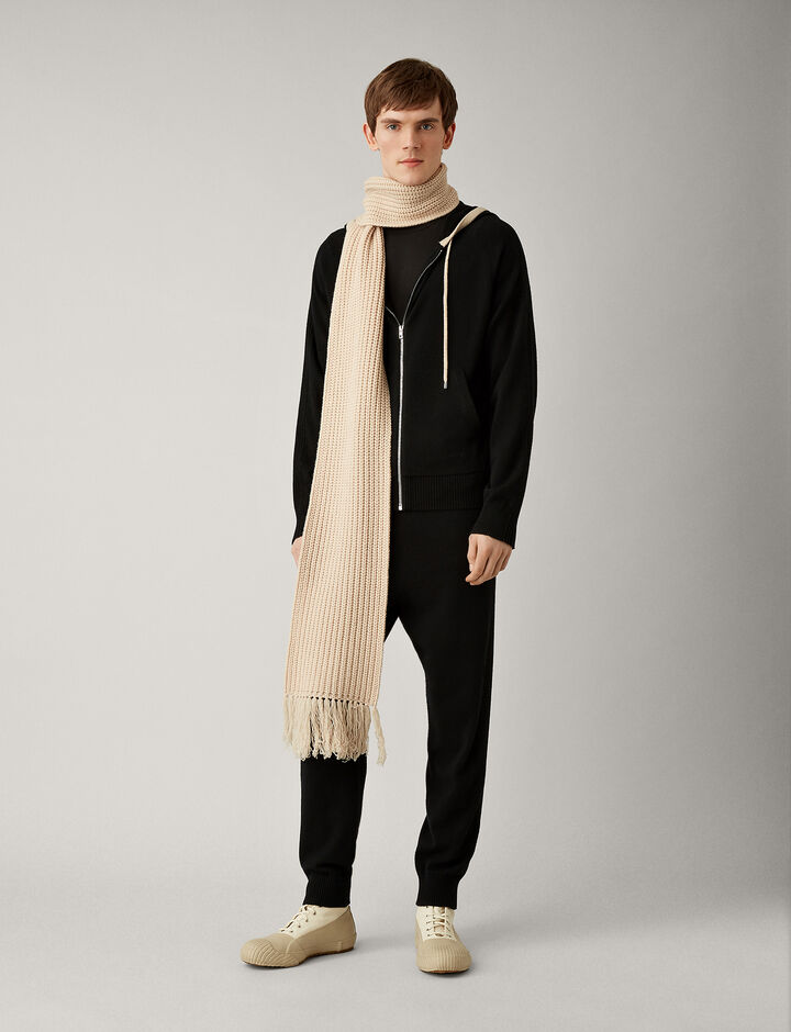 Joseph, Mongolian Cashmere Knit Hoody, in BLACK