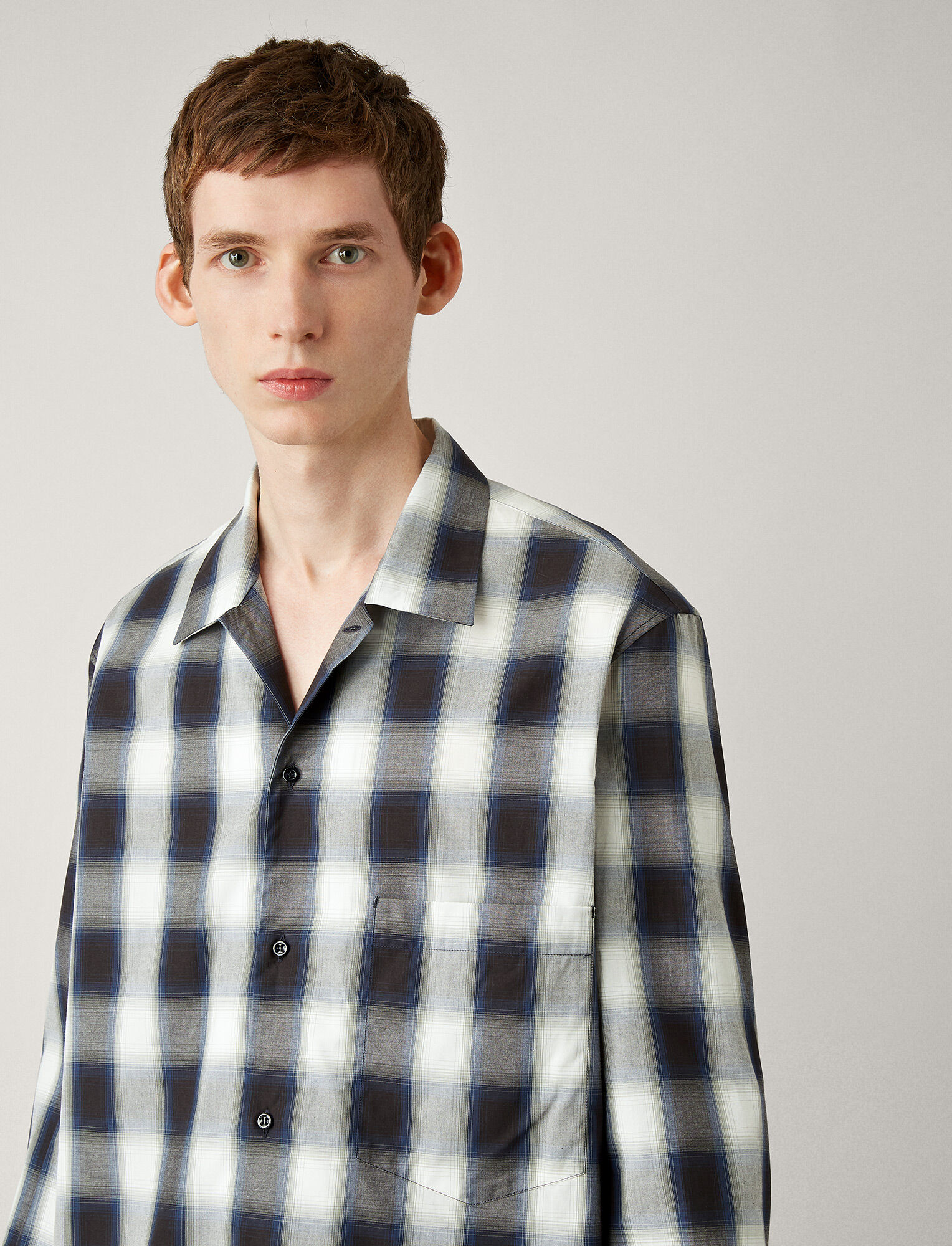 Joseph, Chemise Azzedine West End en madras, in BLACK