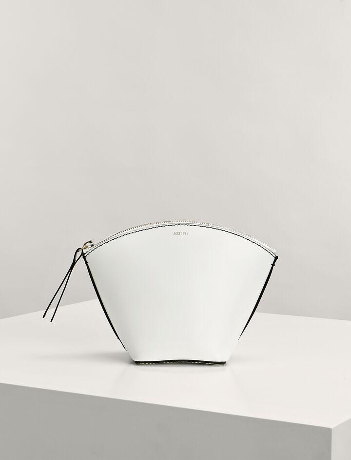 Joseph, Calf-Leather Taco Clutch Bag, in WHITE