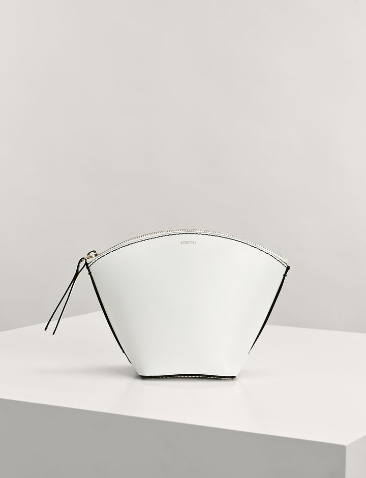 Joseph, Calf-Leather Taco Clutch Bag, in WHITE
