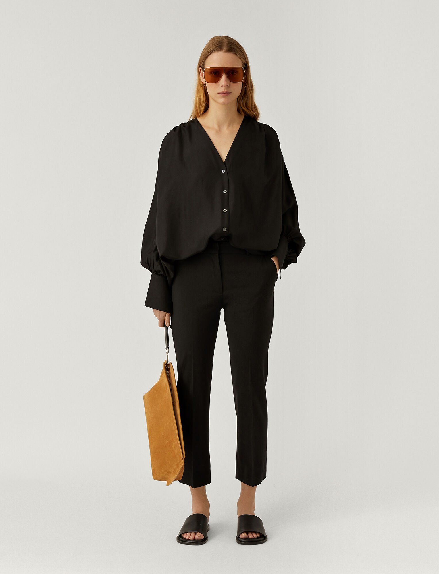 Joseph, Light Wool Suiting Tape Trousers, in BLACK