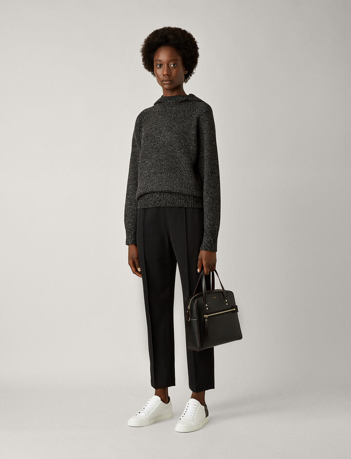 Joseph, Mouline Knit Hoody, in CHARCOAL CHINE