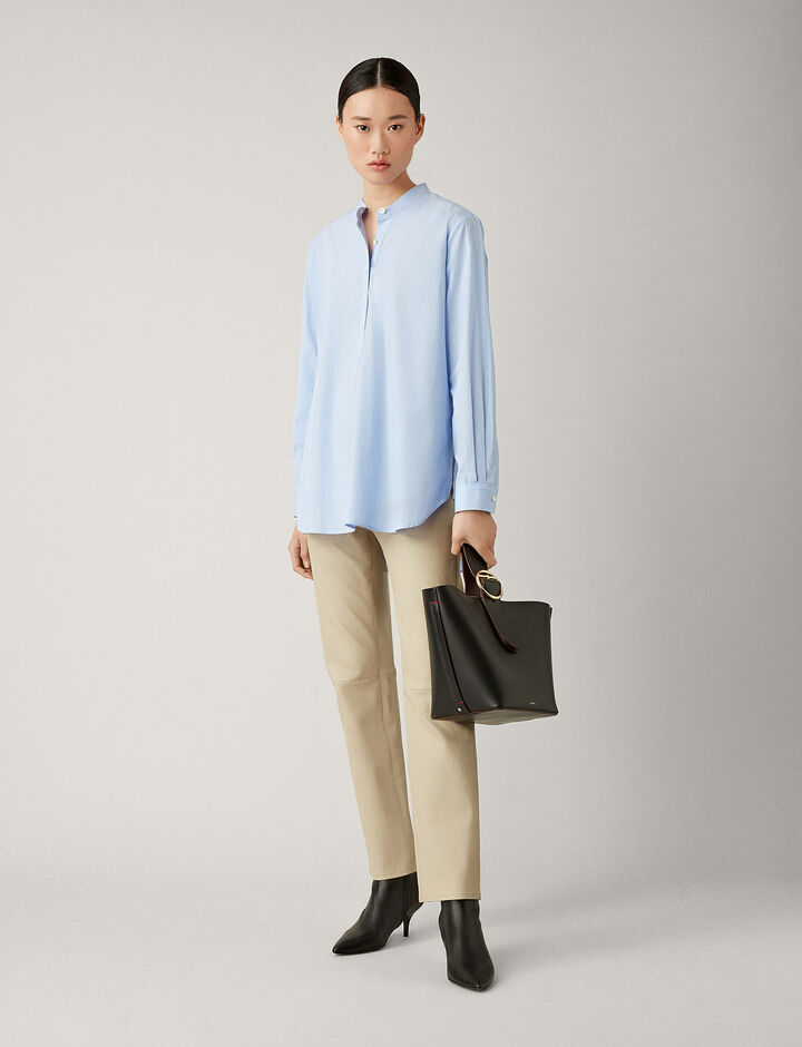 Joseph, Luke Cotton Pinstripe Blouse, in BLUE