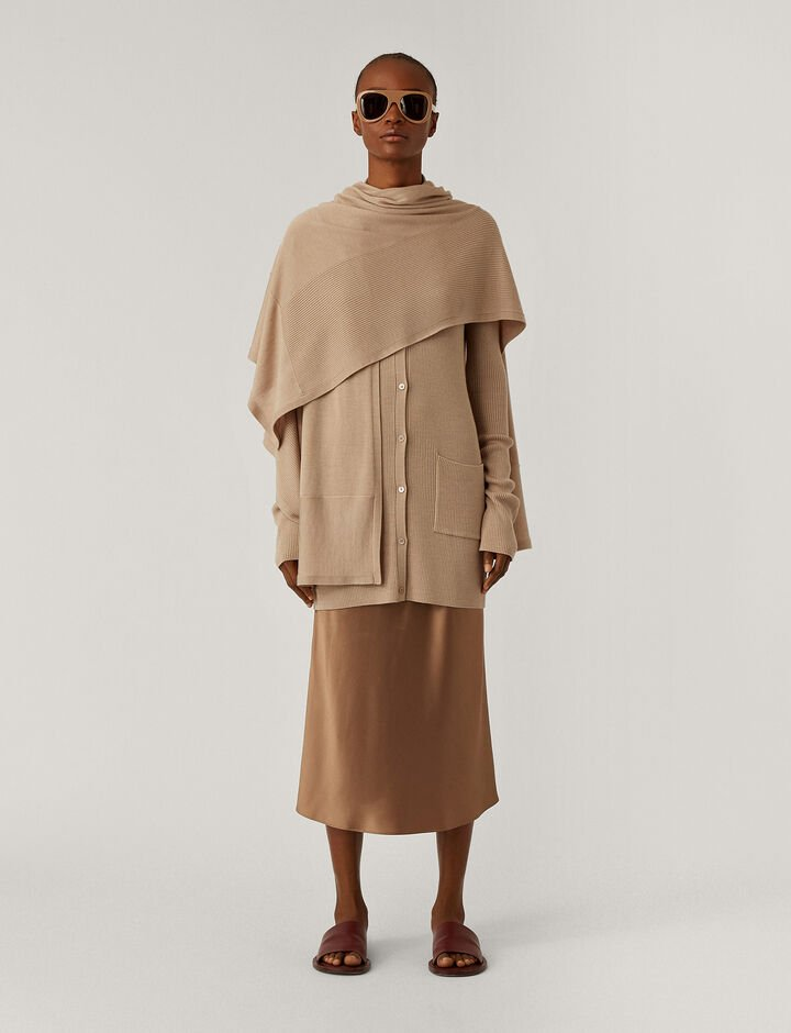 Joseph, Wrap Light Wool Knitwear, in Blush