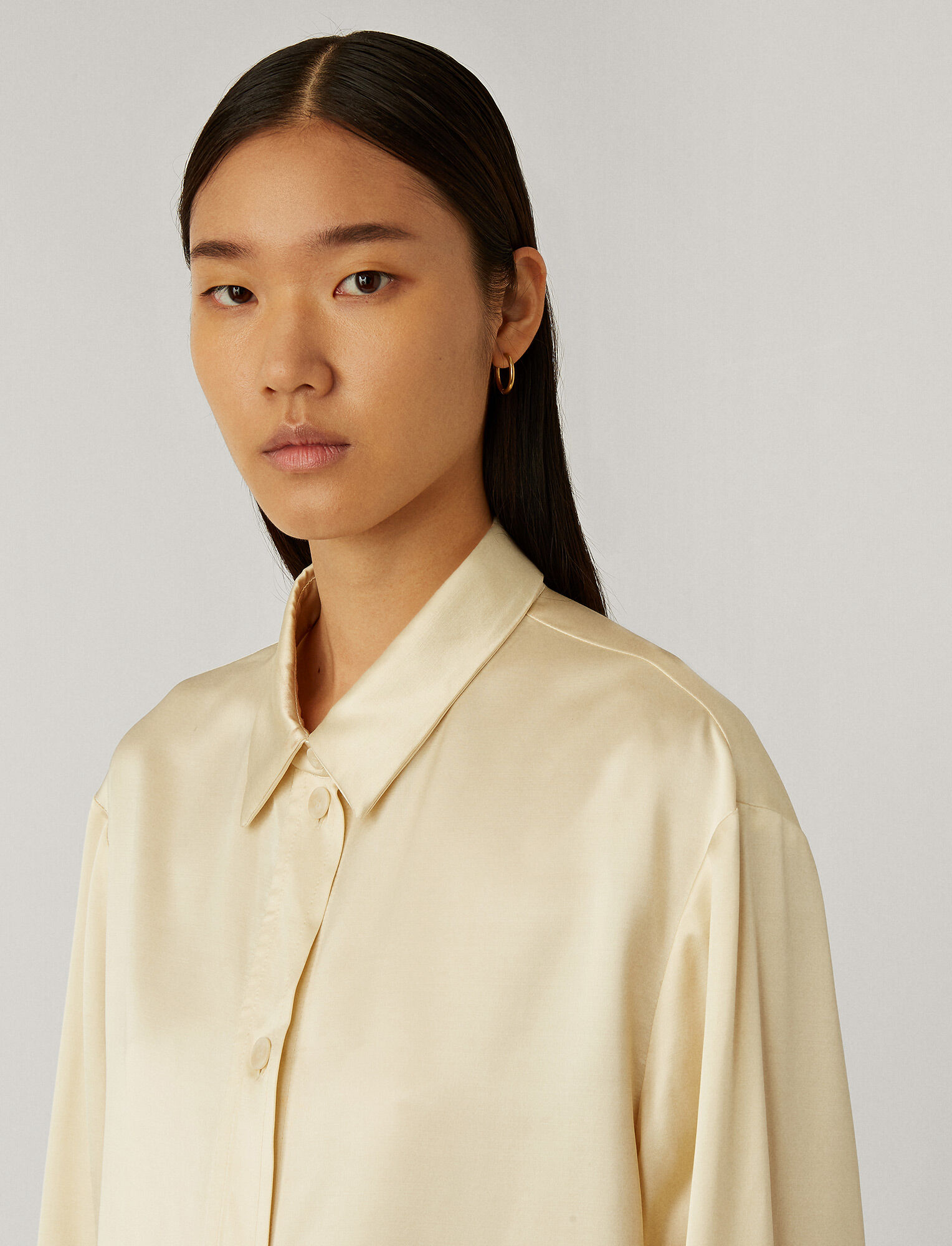 Joseph, Bernel Satin Wool Blouse, in Ivory