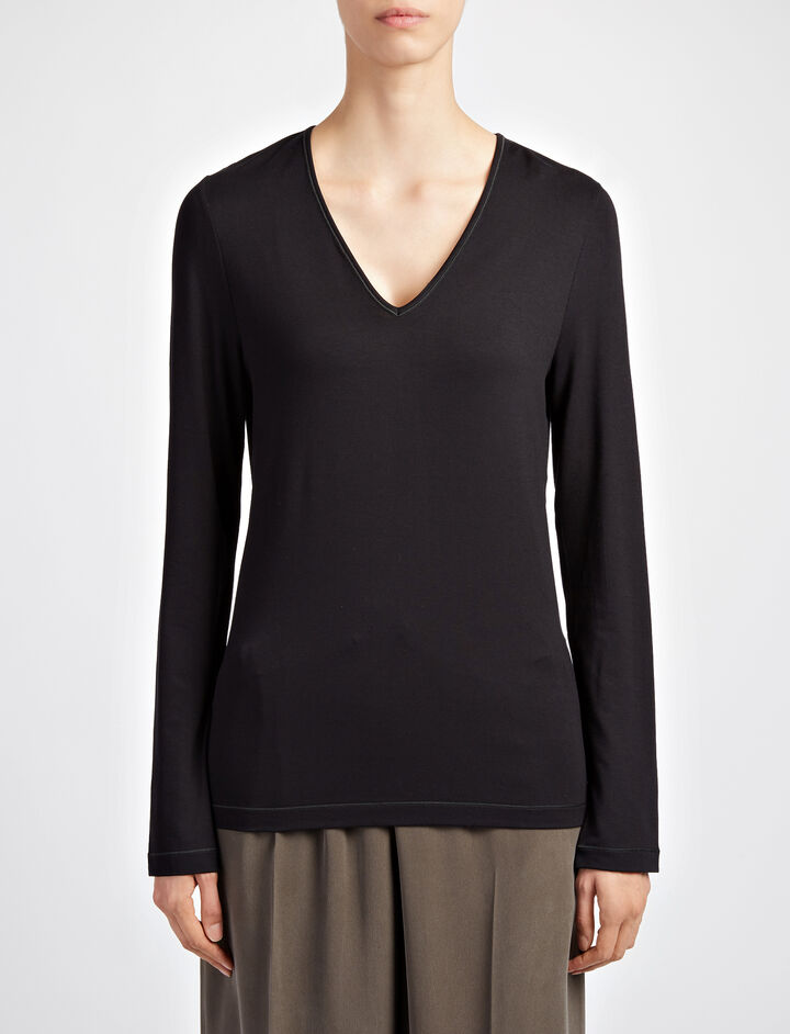 Joseph, Stretch Jersey Deep V Neck Top, in BLACK