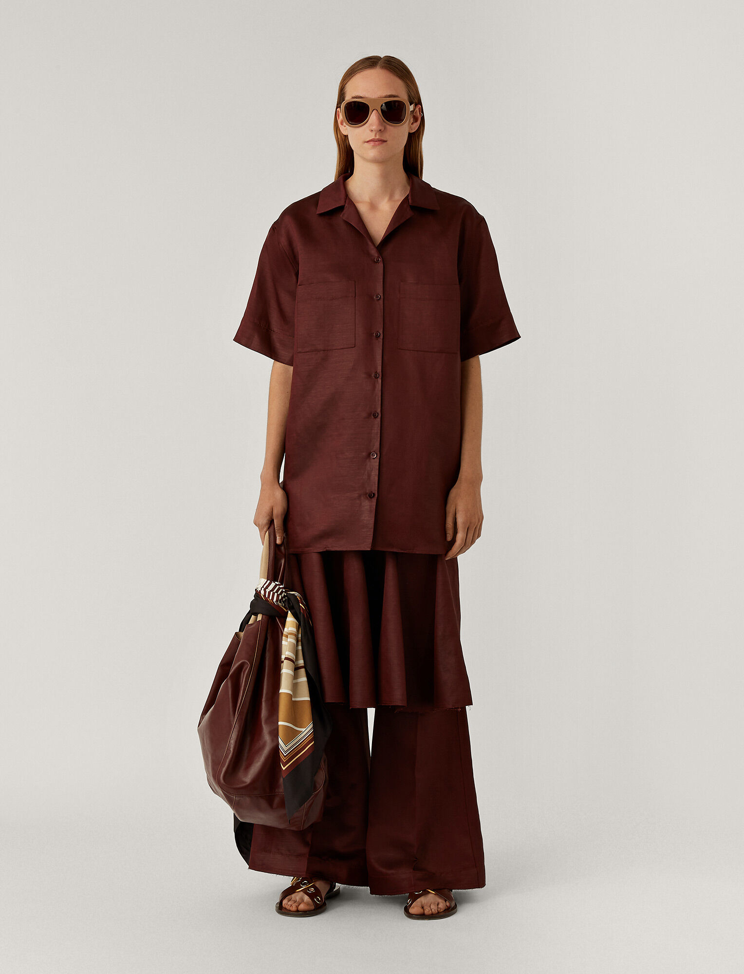 Joseph, Brani Chintaz Shirt, in MERLOT
