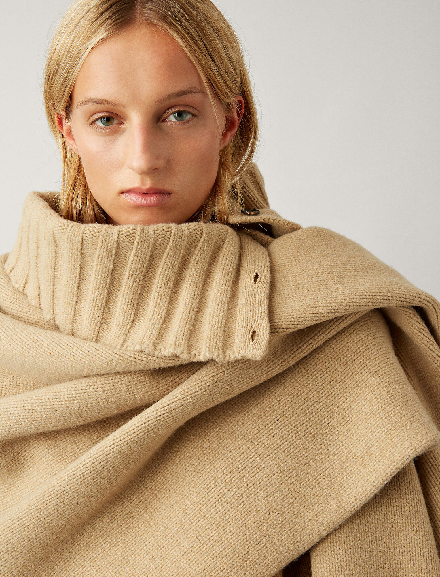 Joseph, Boiled Wool Snood Scarf, in CAMEL