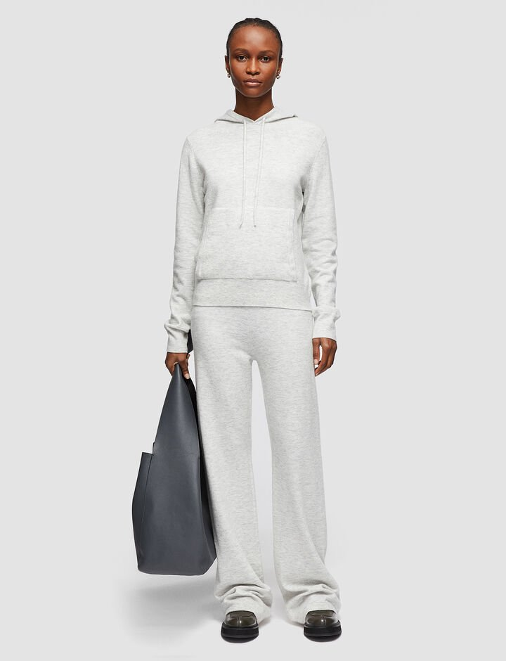 Joseph, Cosy Wool Cashmere Hoody, in PEARL