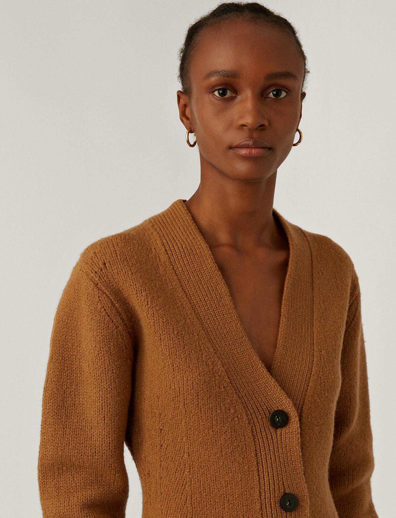 Joseph, Cardigan Boiled Wool Knit, in Camel