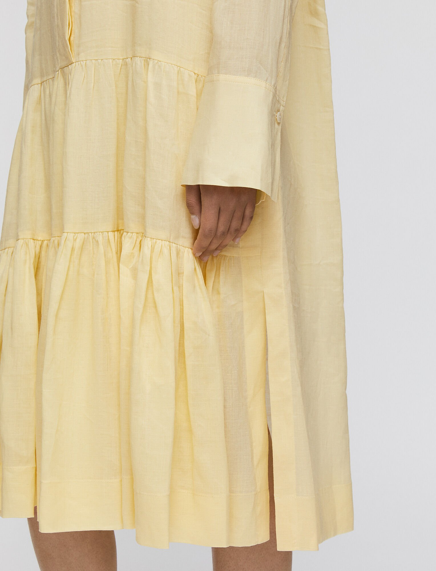 Joseph, Ramie Voile Dan Dress, in CUSTARD