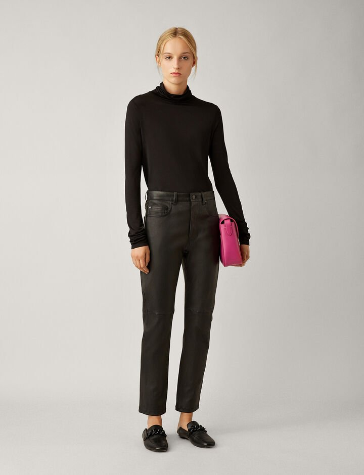 Joseph, Roll Neck Silk Jersey, in BLACK