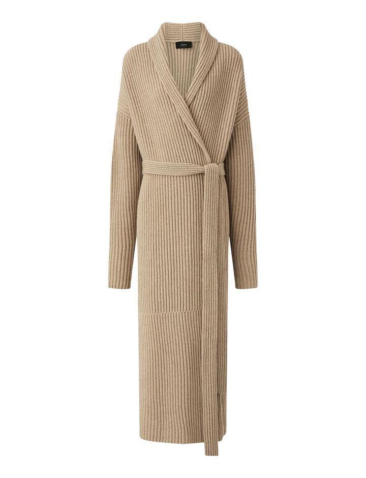 Joseph, Cardigan Stitch Coat, in SANDSHELL
