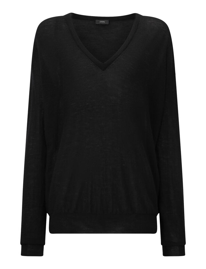 Joseph, V Neck Cashair Knit, in BLACK