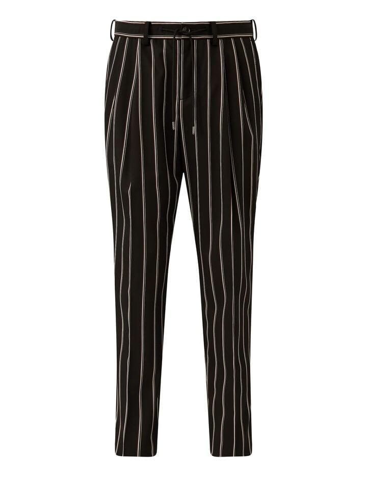 Joseph, Viscose Wool Stripe Trousers Trousers, in Black