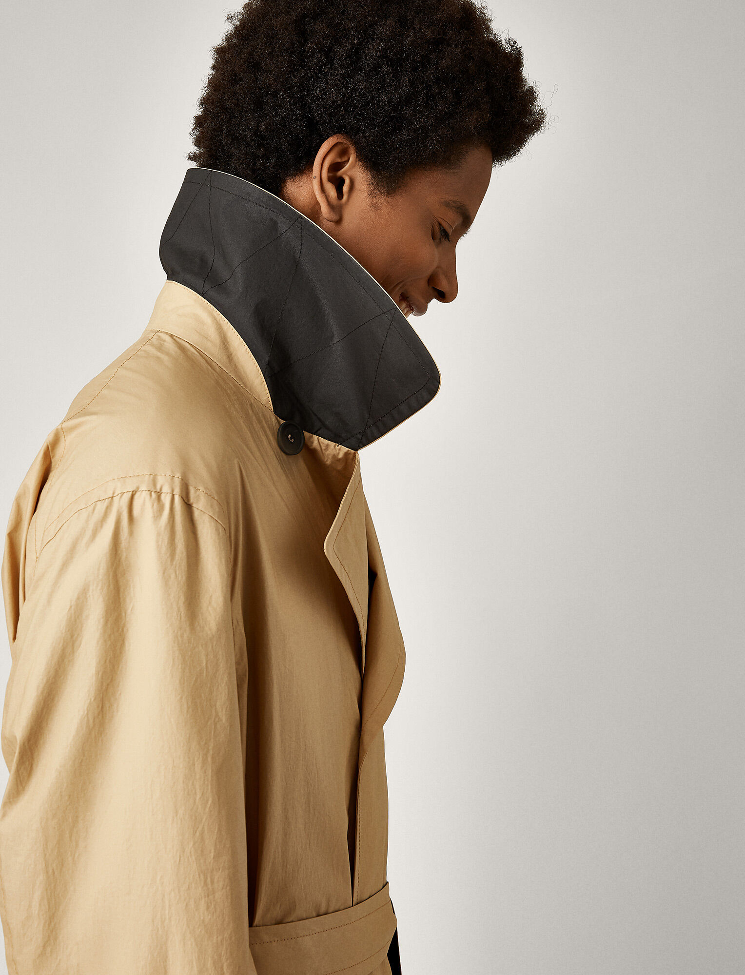 Joseph, Mawes Poplin Coated Coat, in CAMEL COMBO