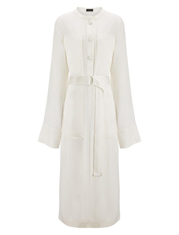 Joseph, Fort Crepe Satin Dress, in WHITE