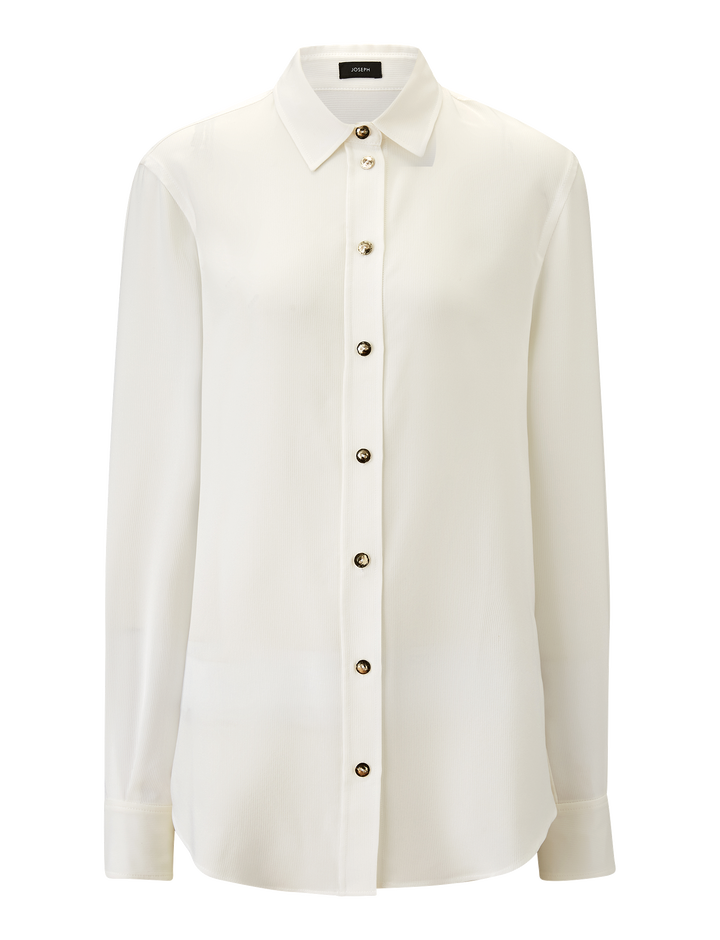 Joseph, New Garçon Silk Rib Shirting Blouse, in WHITE