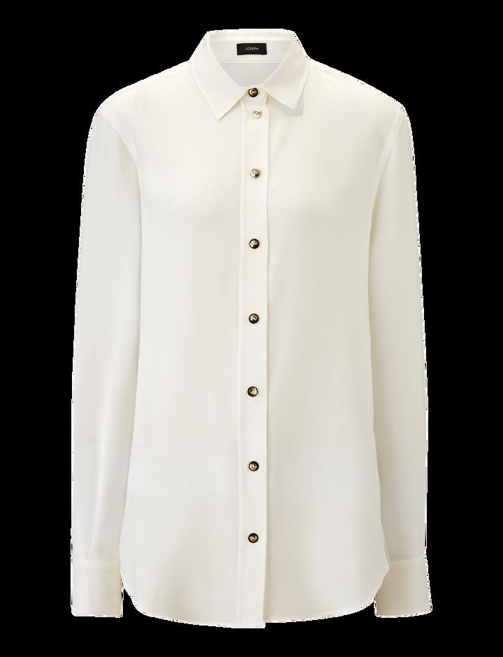 Joseph, New Garçon Silk Rib Shirting Blouse, in WHITE