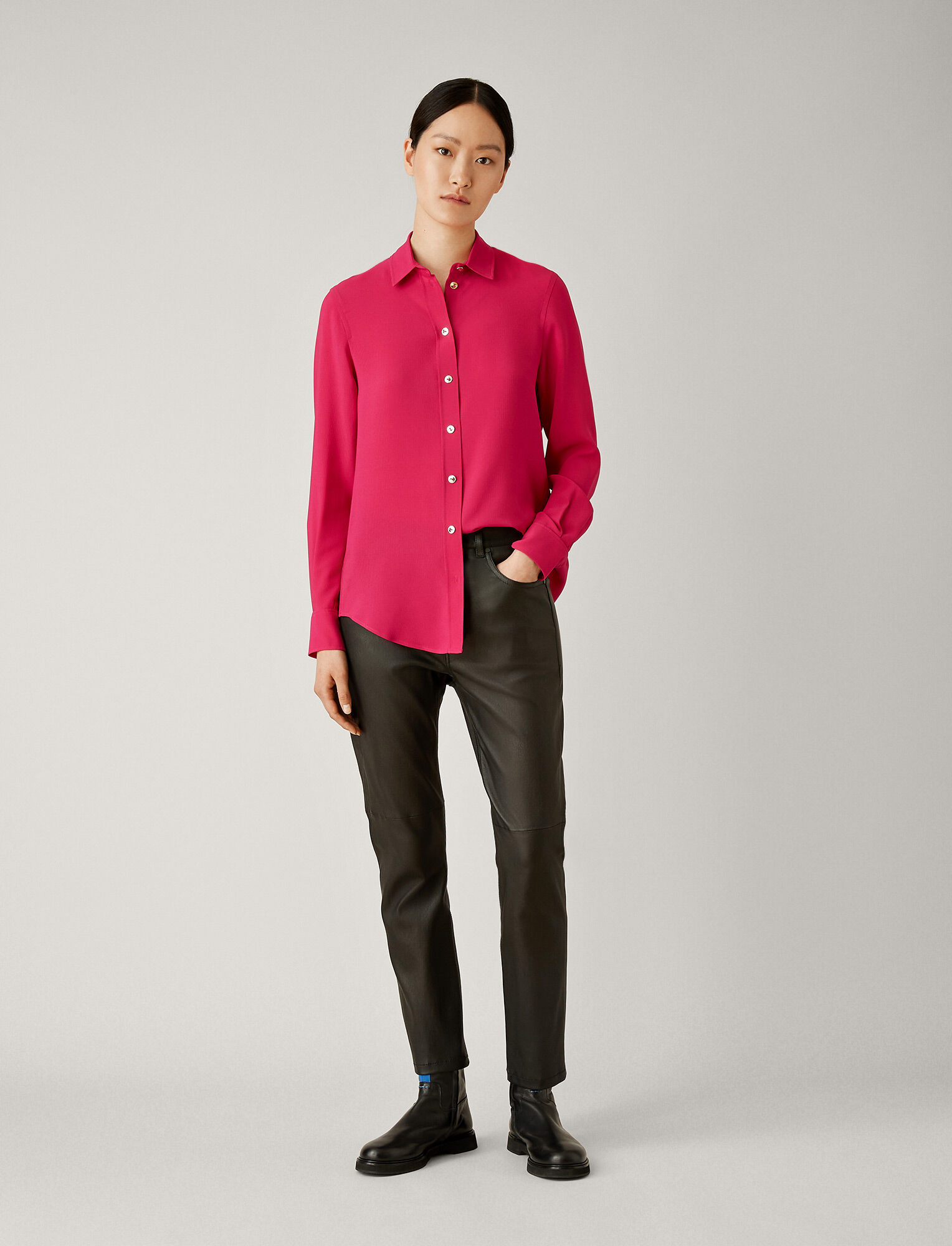 Joseph, New Garçon Silk Rib Shirting Blouse, in CORUNDUM