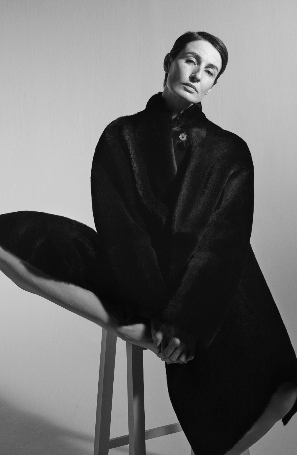 Model wearing Stretch Gaberdine in Coleman Fit