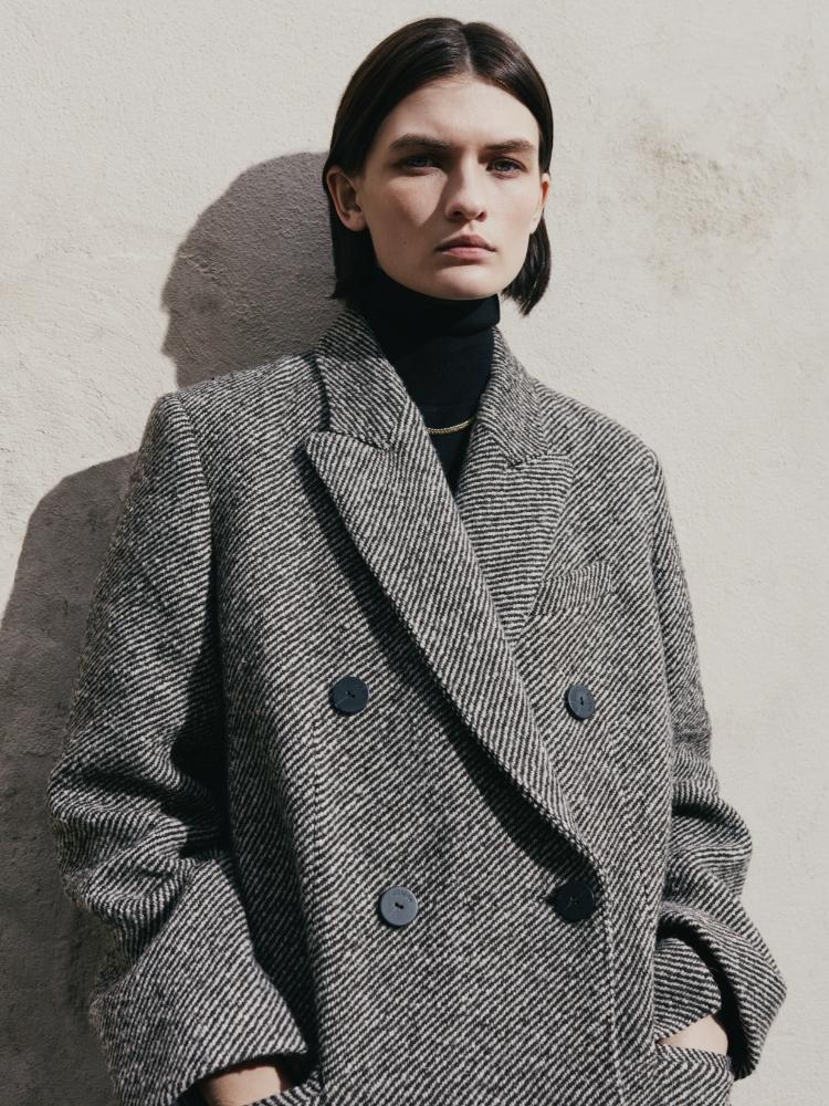 Model wearing Diagonal Coating Colou Coat