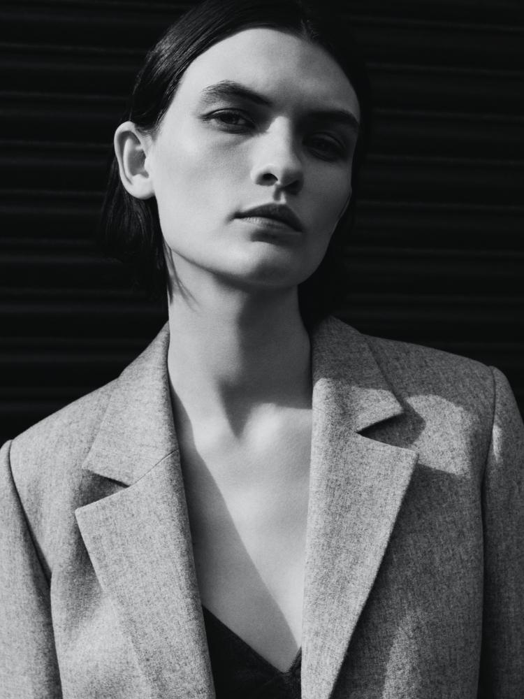 Model wearing Felted Flannel Jara Jacket
