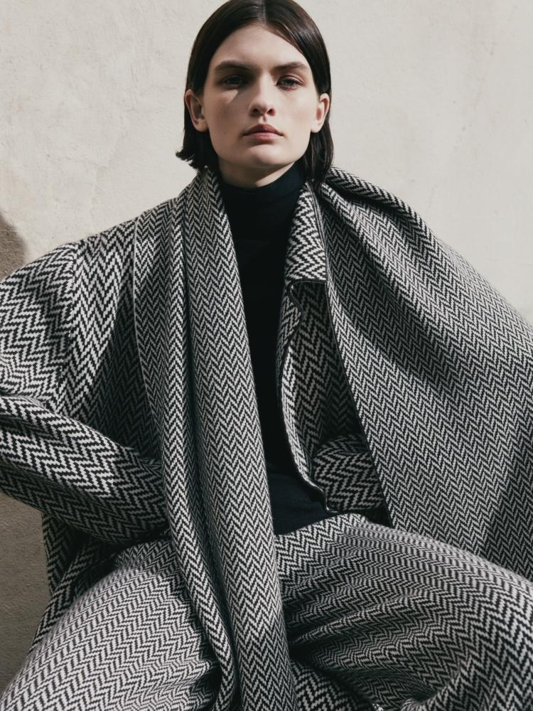 Model wearing Herringbone Scarf